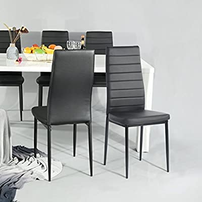 Aingoo Kitchen Chairs Set of 4 Dining Chair Black with Steel Frame Heavy Duty High Back Side Chair PU Leather
