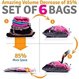 Vacuum Storage Bags for Traveling - 6 Reusable Packing Bags + Hand Pump - in Large, Medium, Small Suitcases, and Backpacks with Ziploc Compression Sacks for Carry-On Luggage