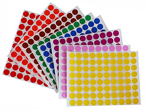 Dot stickers colors 1/2 inch 13mm - Colored labels round sticker in 8 colors - 16 sheets total - 1280 Pack by Royal Green -