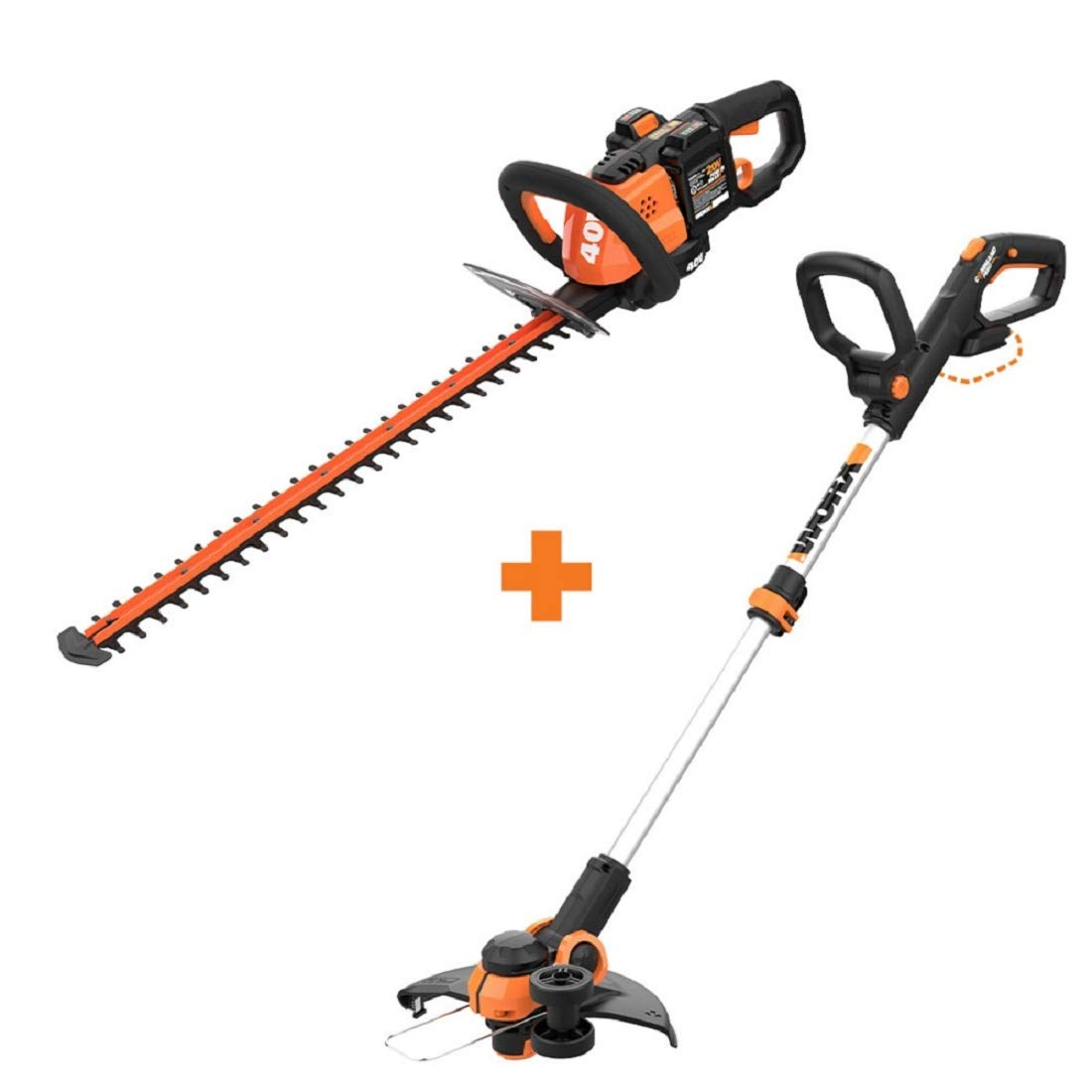 WORX WG284 40V Power Share Cordless 24 Hedge Trimmer w Cordless Grass Trimmer Edger with Command Feed