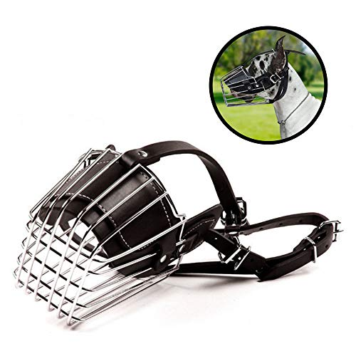 Muzzle for Barking Biting Chewing, Adjustable Dog Dog Mouth Cover with Prime Leather and Iron Wire Basket Cage That Allows Panting and Drinking, Size XXL
