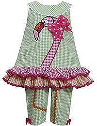 Baby and Toddler Girls Green Pink Flamingo Seersucker Top/Capri Pants Set