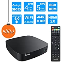 Zoomtak Tv Box [S905X/1G/8GB/4K] K3 Android 6.0 Marshmallow TV Box 2.4G WiFi HDMI 2.0 Streaming Media Player with Super Light and Handy Plastic Case Black