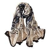 Alice Women Classy Silk Paisley Print Long Scarf Shawls Wraps Navy Blue