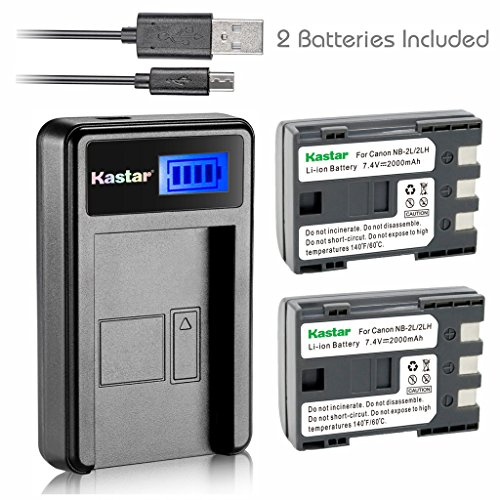 Kastar Battery (X2) & LCD Slim USB Charger for Canon NB-2LH NB-2L (Nb 2lh Camera Battery)
