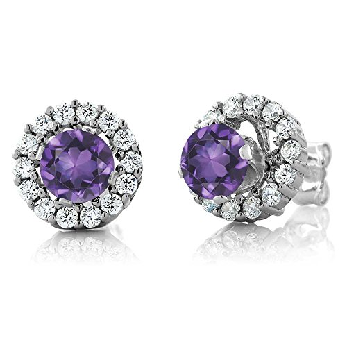 Gem Stone King 1.29 Ct Round Amethyst 925 Sterling Silver Women's Stud Earrings with Jackets
