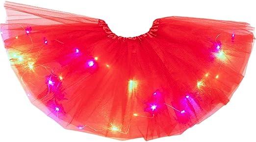 zhoujinf - Falda tutú de tutú con Luces LED de neón para Mujer y ...