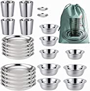 Stainless Steel Plates 、Bowls 、Cups and Spice Dish. Camping Set (24-Piece Set) 3.5inch to 8.6inch. Outdoor Use