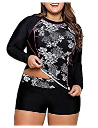 WoldGirls Women Plus Size Two Piece Rashguard Swimwear Athletic Tankini Swimsuit