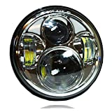 GENSSI 5 3/4 Inch Round LED Projector Chrome Headlight H5001 4000 H5006 (Pack of 1)