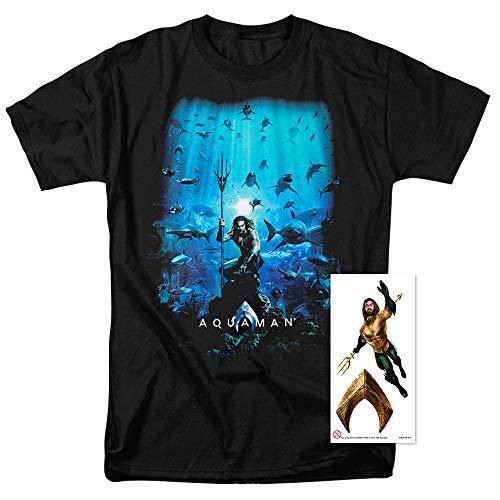 Aquaman Movie Jason Mamoa Poster T Shirt & Stickers (Medium) -