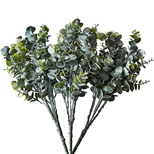 Kislohum Eucalyptus Bunches 3pcs Faux Artificial Greenery Stems Bulk Silver Dollar Eucalyptus Leaves Spray for Home Party Wedding Bouquets Decoration-3pcs/pack