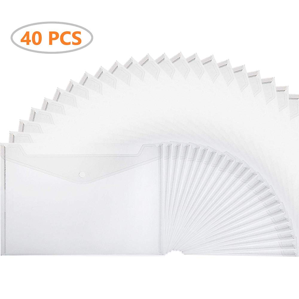 Xzyppci Poly Envelope, 40pcs Clear Plastic Waterproof Envelope Folder with Button Closure,Project Envelope Folder, A4 Size by Xzyppci