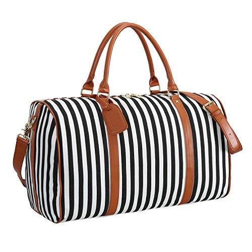 Weekender Bag Women Ladies Canvas Travel Duffel Tote Carry On Shoulder Overnight Bag ()