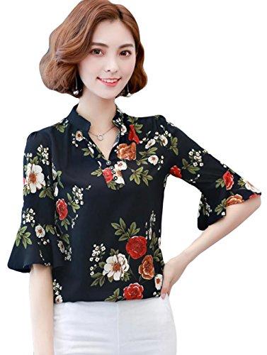 やめる行列切り離すDeBangNi レディース ブラウス シャツ シフォン Vネック 半袖 フリル トップス 花柄 通勤 オフィス エレガント ゆったり カジュアル かわいい きれいめ 韓国風 夏服