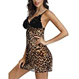 Women's Leopard Lingerie Dress Chemises Sexy Slip