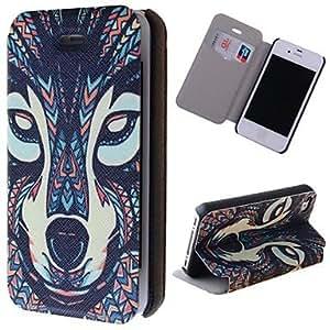 TY- granos especial lobo claro patrón pu caso de cuerpo completo con ranura de la tarjeta para el iphone 4 / 4s