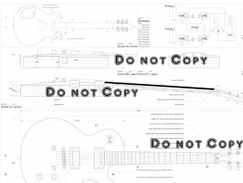 gibson les paul electric guitar plans - full scale design plans - technical drawings