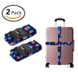 OKAYDECOR Long Cross Luggage Straps Suitcase Belts American Flag Mason Jars
