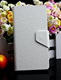 Diamond Veins Luxury PU Leather Flip Stand With Card Slot Wallet Case Cover For Vodafone Smart 4 Mini (White)