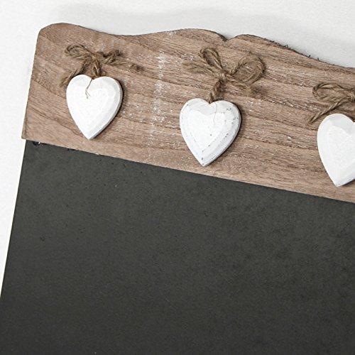 Just Contempo 40 x 24 cm, Holz, Shabby Chic, Memo-Tafel, mit Herz, Used-Look, ideal für Küche Decor, Schwarz