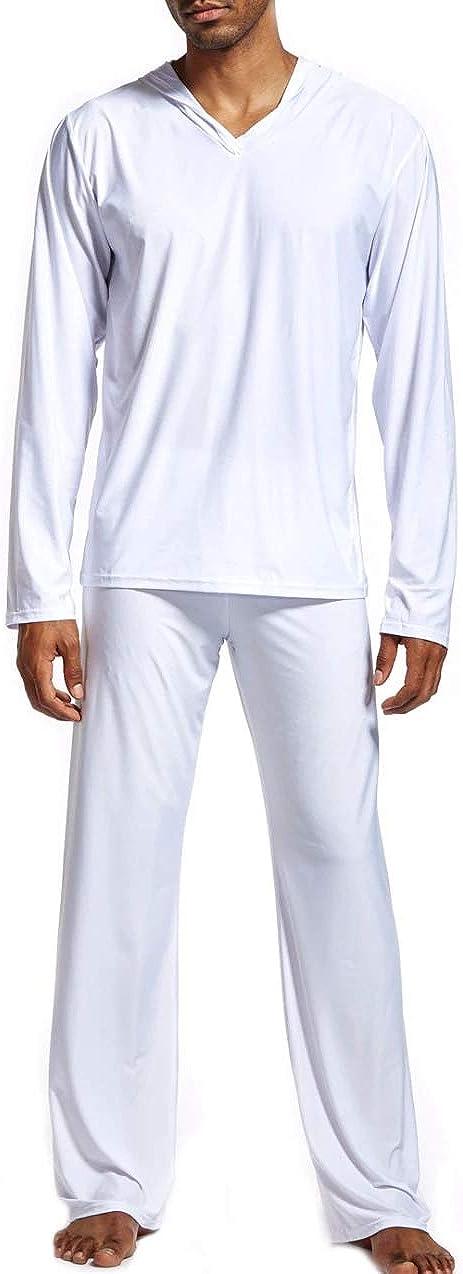Mendove Men Pajama Set Nylon Long Sleeve Hoodies and Bottoms Sleepwear Lounge Set