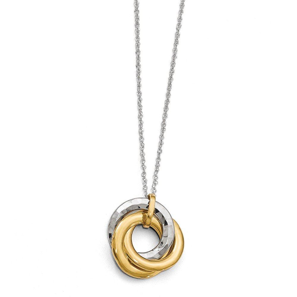 Jewelry Best Seller Leslie's 10k Two-tone Polished Textured Pendant