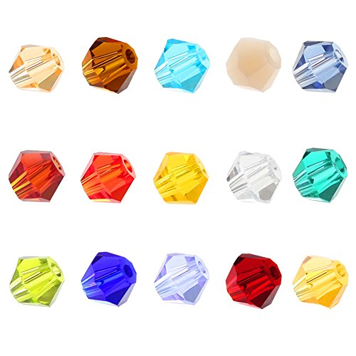 Bicone Crystal Bracelet - Chunkai Wholesale 3mm Faceted Bicone Crystal Glass Clear Beads In Bulk 15 Colors for Jewelry Making DIY Bracelet with Container Box (1500PCS)