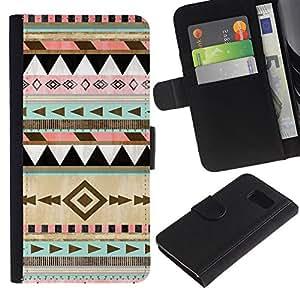 EJOY---La carpeta del tirón la caja de cuero de alta calidad de la PU Caso protector / Samsung Galaxy S6 / --invierno nativo americano Modelo de la Navidad