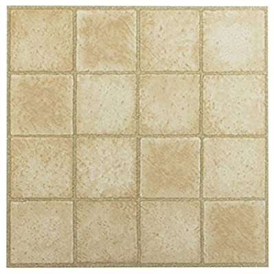 Achim Imports FTVGM30845 Tivoli 16 Square Sandstone 12x12 Self Adhesive Vinyl Floor Tiles/45 Sq Ft, Piece