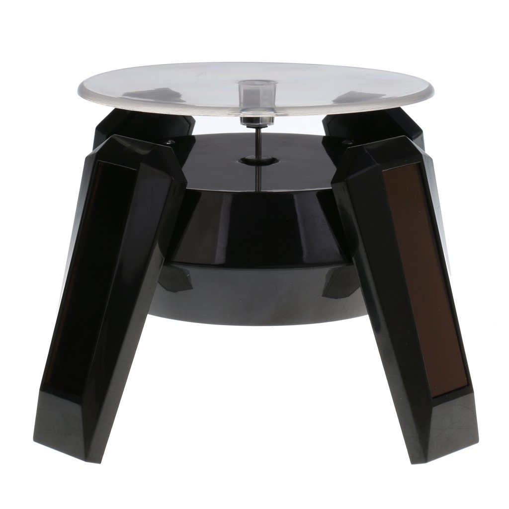 Dovewill Black 360 Degree Rotating Jewelry Watch Display Stand - Solar or AAA Battery Powered