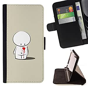 DEVIL CASE - FOR Samsung Galaxy Note 4 IV - Cute Love Heart Sad - Style PU Leather Case Wallet Flip Stand Flap Closure Cover