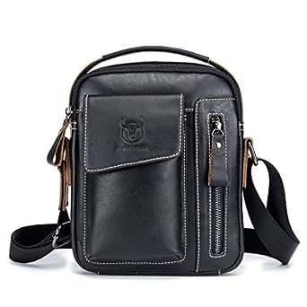 Chest Bag Men Genuine Leather Chest Bag, BULLCAPTAIN Crossbody Shoulder Bag Sling Bags Backpack Messenger Bag Daypack For Business Casual Sport Hiking Travel Black