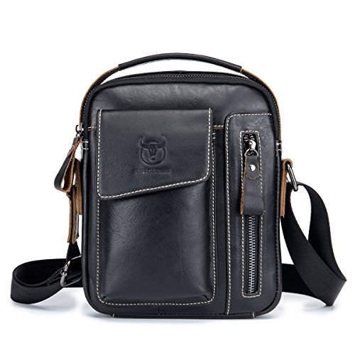 Amazon.com : BULLCAPTAIN Mens Small Shoulder Bag, Genuine Leather Bag, Retro Lightweight Cross Body Everyday Satchel Bag for Business Casual Sport Hiking ...