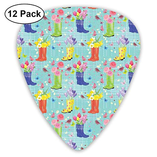 Celluloid Guitar Picks - 12 Pack,Abstract Art Colorful Designs,Rubber Boots With Flowers Abstract Blue Toned Background Butterflies And Hearts,For Bass Electric & Acoustic Guitars. -