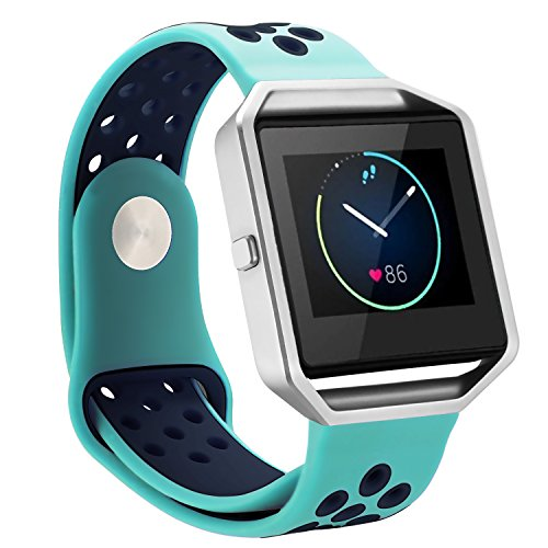 ESeekGo Compatible with Fitbit Blaze Bands, Sport Breathable Silicone Band with Frame Compatible with Fitbit Blaze Replacement Smart Fitness Watch Wristband for Women Men