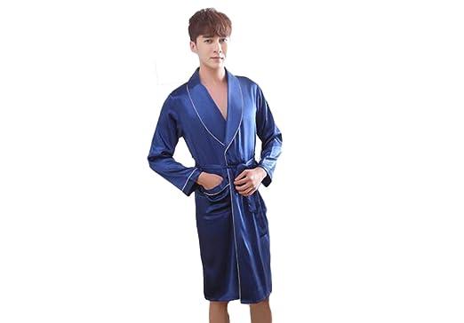 PFSYR Albornoz de los hombres pijamas/ropa de manga larga de seda camisón camisón/