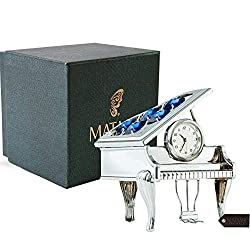 Matashi 24K Silver Plated Vintage Piano Desk Clock- Gift for New Year, Valentines Day for Shelf Desktop Tabletop Clock with a Luxury Gift Box, Silver with Blue Crystals (2.5 x 2 x 3 inches)
