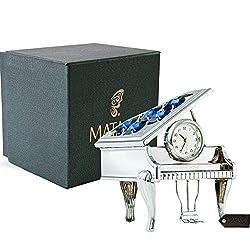 Matashi Creative Vintage Piano Clock Living Room Bedroom Home Decor Shelf Desktop Tabletop Clock a Luxury Gift Box, Silver Blue Crystals (2.5 x 2 x 3 inches)
