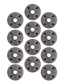Pipe Decor 1/2' Malleable Cast Iron Floor Flange 12 Pack, Industrial Steel Grey Fits Standard Half Inch Threaded Black Pipes and Fittings, Build Vintage DIY Furniture Shelving, Twelve Plumbing Flanges
