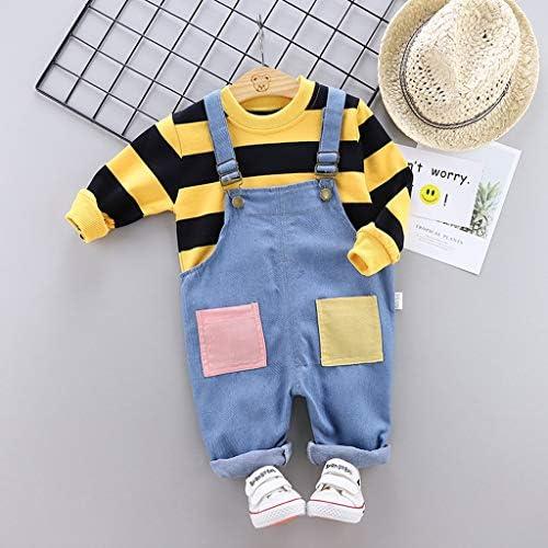Zegeey Jungen Baby Kleinkind M/äDchen Gestreiften T-Shirt Latzhose Tops Blusen Hosentr/äGer Hosen Outfits Set Fr/üHling Herbst Bekleidungssets Geburtstag Geschenk