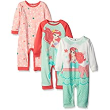 Disney Baby Girls' 3 Pack Coveralls Of Ariel The Little Mermaid