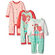 Disney Baby 3 Pack Coveralls of Ariel The Little Mermaid, Green, 9 Months