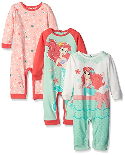 Disney Baby Girls 3 Pack Coveralls Of Ariel The Little Mermaid