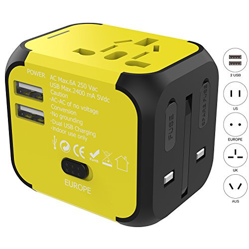 Travel Adapter, Jollyfit International Universal European Adapter 2 USB Charger US UK AUS EU Power Plug Adapter for Europe Japan Germany France Italy Russia England Laptop Cell Phones (Yellow 2 USB) by Jollyfit