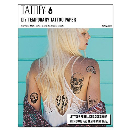 tattify diy temporary tattoo paper 2 sheet pack for inkjet