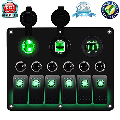 DCFlat 3 Gang / 4 Gang / 6 Gang / Circuit LED Car Marine Boat Rocker Switch Panel Dual USB Waterproof Power Socket Breaker Voltmeter Overload Protection (6) ()