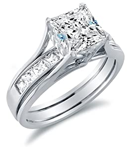 solid 925 sterling silver bridal set princess cut solitaire engagement ring with matching channel set wedding band highest quality cz cubic zirconia 20ct - Cubic Zirconia Wedding Ring Sets