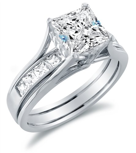 Size 6.5 - Solid 14k White Gold Bridal Set Princess Cut Solitaire Engagement Ring with Matching Channel Set Wedding Band CZ Cubic Zirconia 2.0ct.