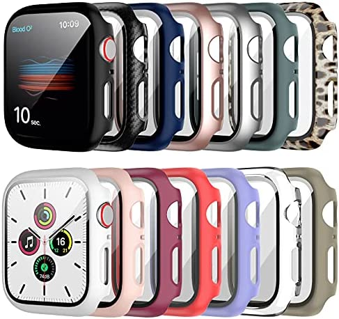 14 Pack Apple Watch Case with Tempered Glass Screen Protector for Apple Watch 44mm Series 6/5/4/SE,RTong Full Coverage Hard PC Protective Cover HD Ultra-Thin Guard Bumper for iWatch 44mm Accessories